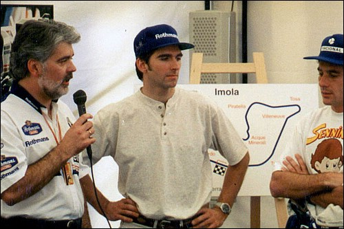 Richard interviewing Damon Hill and Ayrton Senna on the fateful race day at Imola on 1st May 1994
